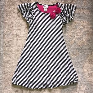 Flared A-line Dress with Diagonal Stripes